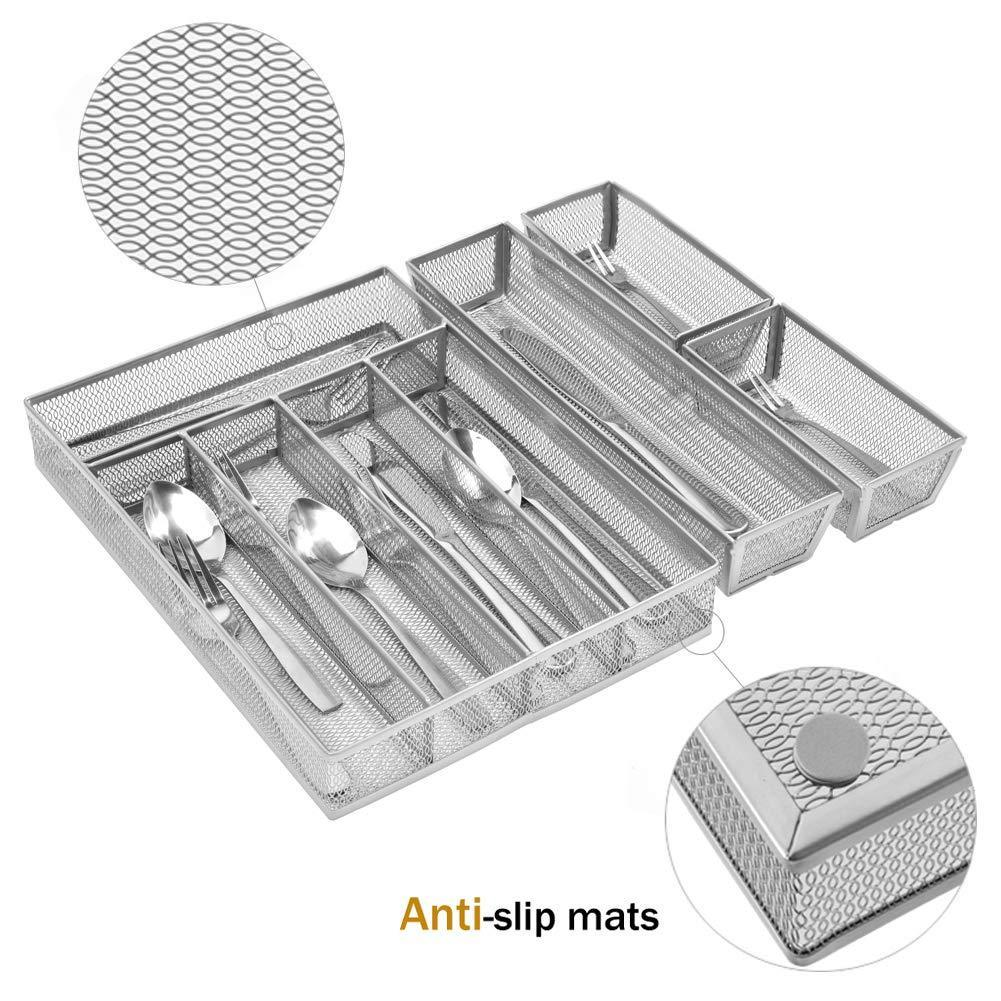 Buy now kitchen silverware drawer organizer 5 3 separate compartment with anti slip mats mesh kitchen cutlery trays silverware storage kitchen utensil flatware tray