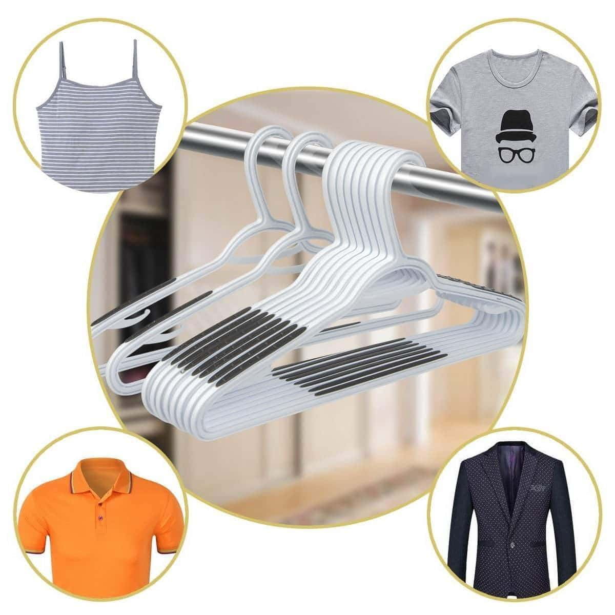 Top timmy plastic hangers 40 pack heavy duty clothes hangers with built in grip non slip pads space saving super lightweight organizer for closet wardrobe perfect for blouses shirts and morewhite grey