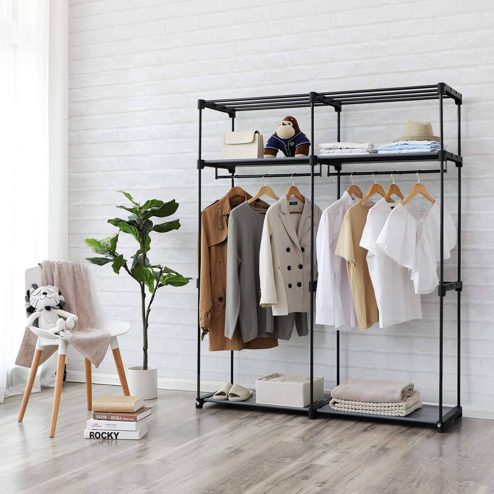 Save songmics closet storage organizer portable wardrobe with hanging rods clothes rack foldable cloakroom study stable 55 1 x 16 9 x 68 5 inches gray uryg02gy