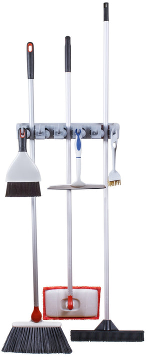 Products greenco mop and broom organiser wall and closet mount organizer rack holds brooms mops rakes garden equipment tools and more contains 5 non slip automatically adjustable holders and 6 hooks