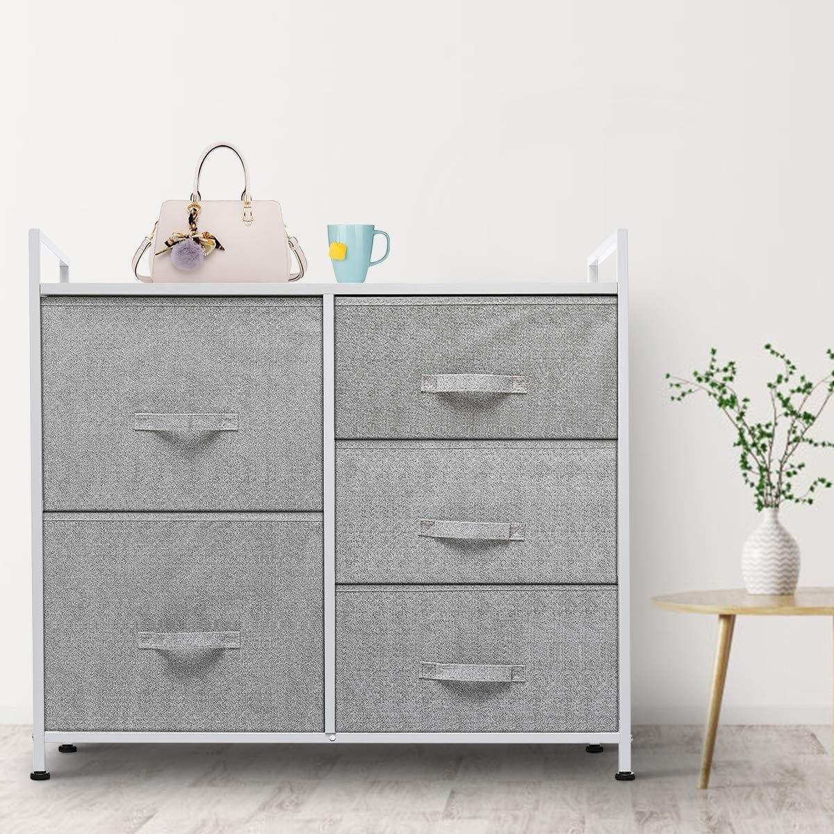 Top rated kingso fabric 5 drawer dresser storage tower organizer unit with sturdy steel frame and easy pull faux linen drawers for bedroom living room guest room dorm closet grey