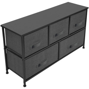 Top rated sorbus dresser with drawers furniture storage tower unit for bedroom hallway closet office organization steel frame wood top easy pull fabric bins 5 drawer black charcoal