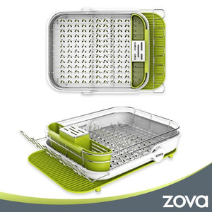 Shop mr siga zova premium stainless steel multi functional dish drying rack with cutlery holder and wine glass rack dish drainer utensil organizer for kitchen large white green