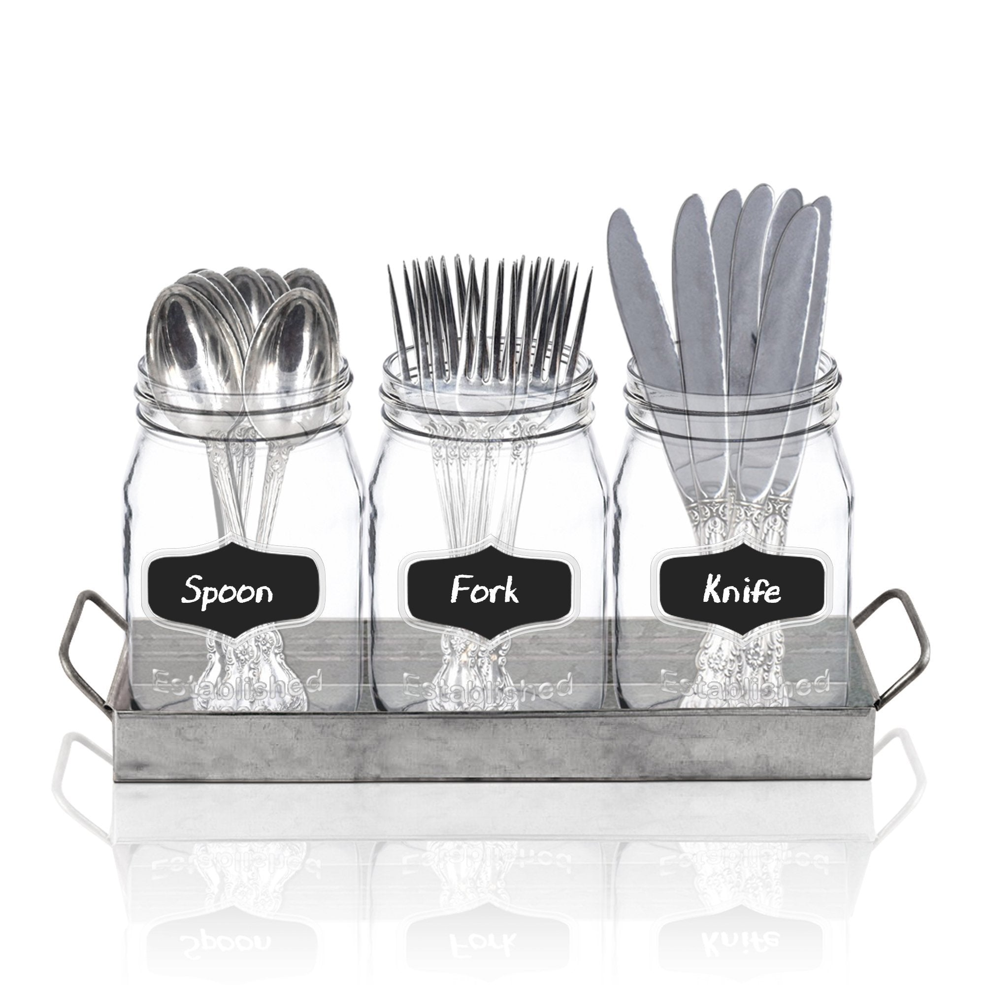 Shop here 3 glass mason jars with black chalk label 17 ounces clear chalkboard mugs on galvanized caddy with handle home and party drinkware set utensil organizer vintage rustic decor set