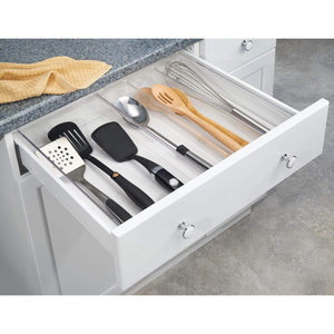 Try mdesign adjustable expandable 4 compartment kitchen cabinet drawer organizer tray divided sections for cutlery serving cooking utensils gadgets bpa free food safe 3 deep pack of 2 clear