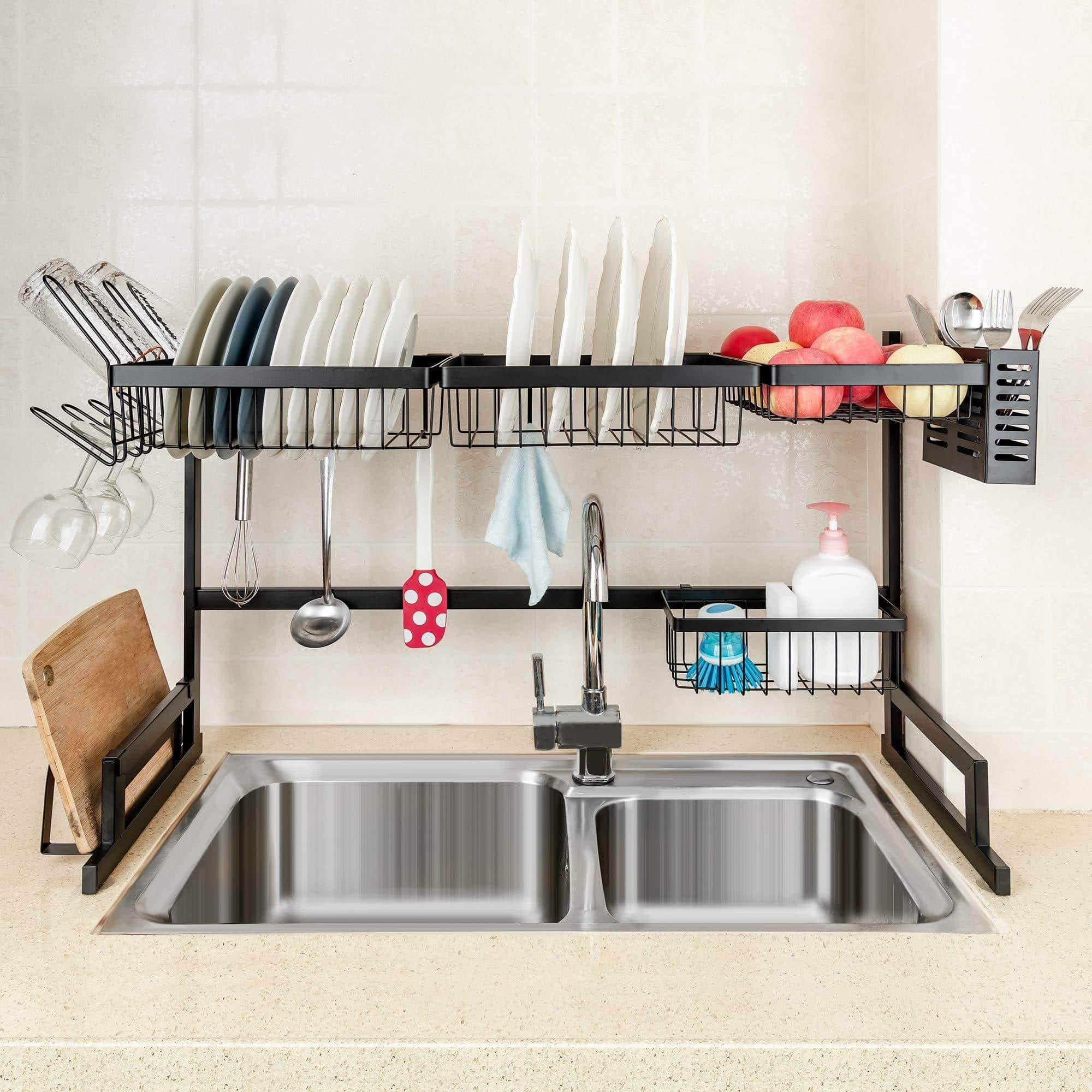 Best seller  ipegtop over the sink stainless steel dish drying rack large dish drainers for kitchen double sink dishes utensils glasses draining shelf storage counter organizer cutlery holder black
