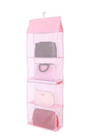 On amazon detachable 6 compartment organizer pouch hanging handbag organizer clear purse bag collection storage holder wardrobe closet space saving organizers system for living room bedroom home use pink