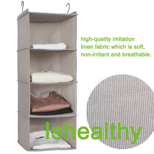 Try ishealthy hanging closet organizer 4 shelf cloth hanging shelf houndstooth imitation linen fabric easy mount collapsible foldable hanging closet shelves storage organizer with 2 hooks gray
