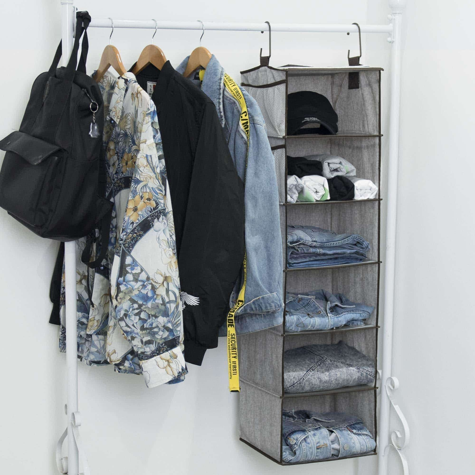 Latest storageworks hanging closet organizer 6 shelf closet organizer 2 ways dorm closet organizers and storage sweater organizer for closet gray 12x12x42 inches