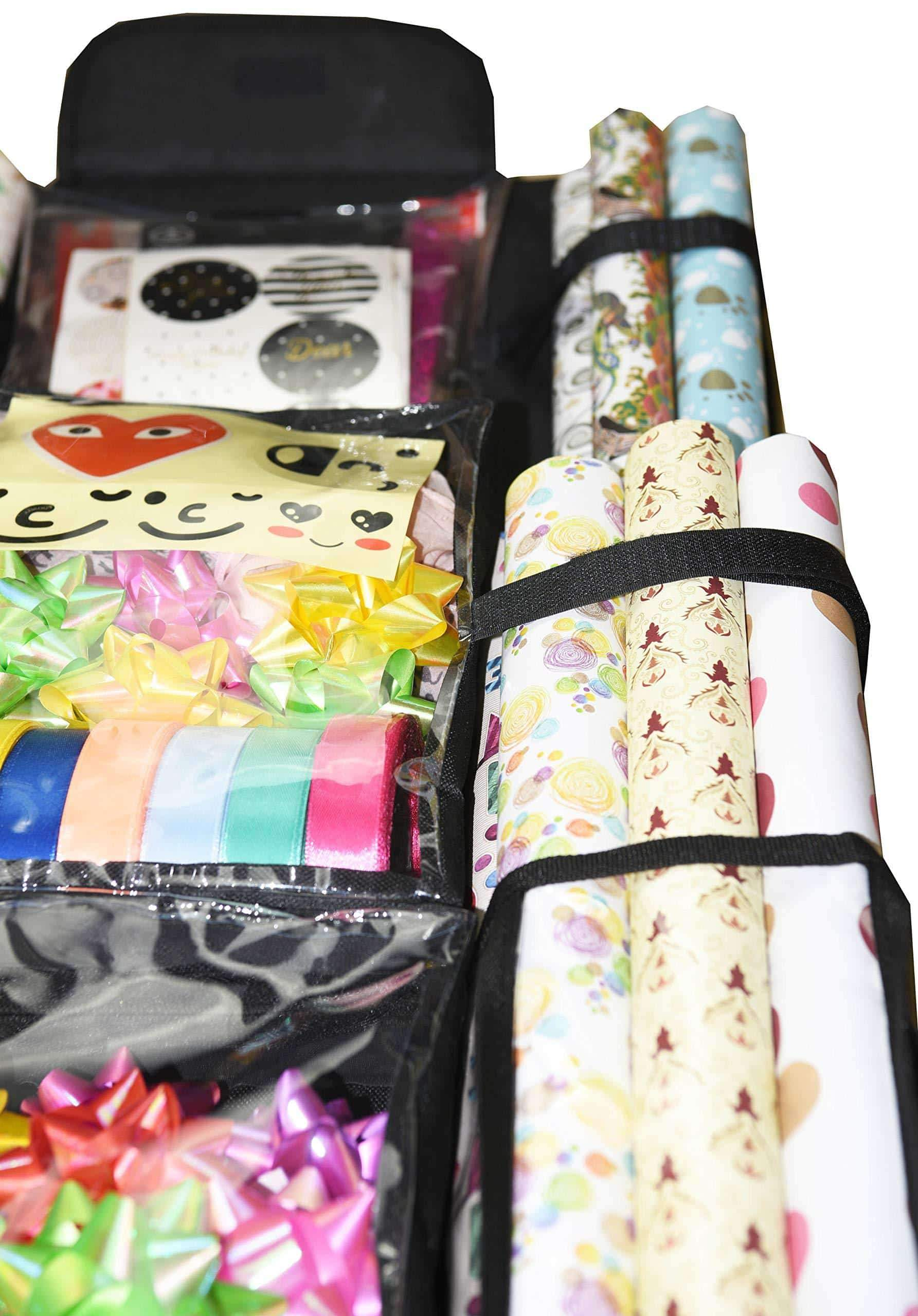 Latest freegrace double sided hanging gift wrap organizer large 16 x 41 wrapping paper rolls storage bag tearproof space saving closet gift bag organization solution black