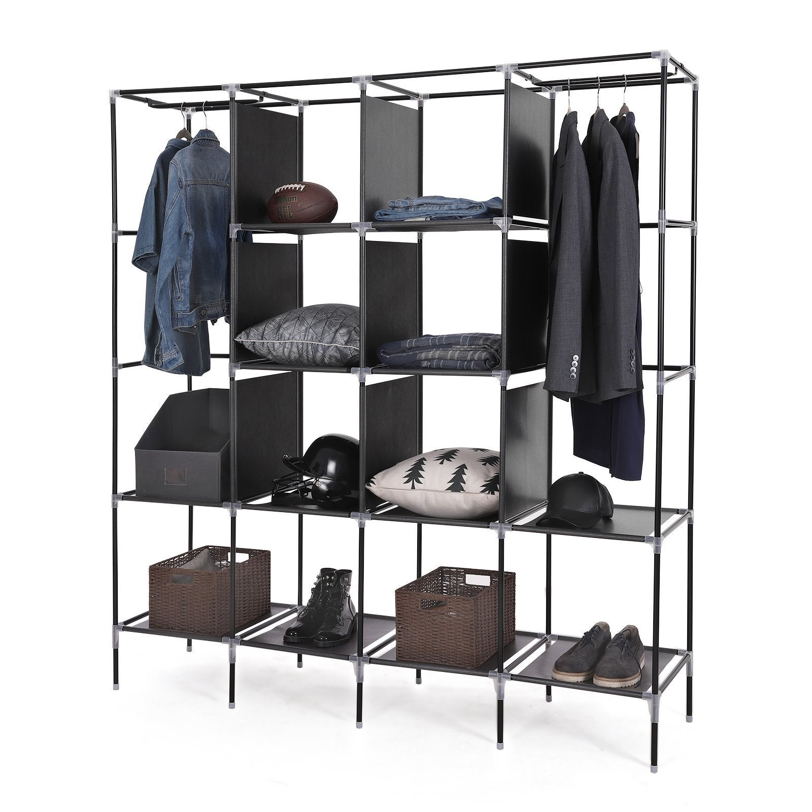 Organize with songmics 67 inch wardrobe armoire closet clothes storage rack 12 shelves 4 side pockets quick and easy to assemble black uryg44h