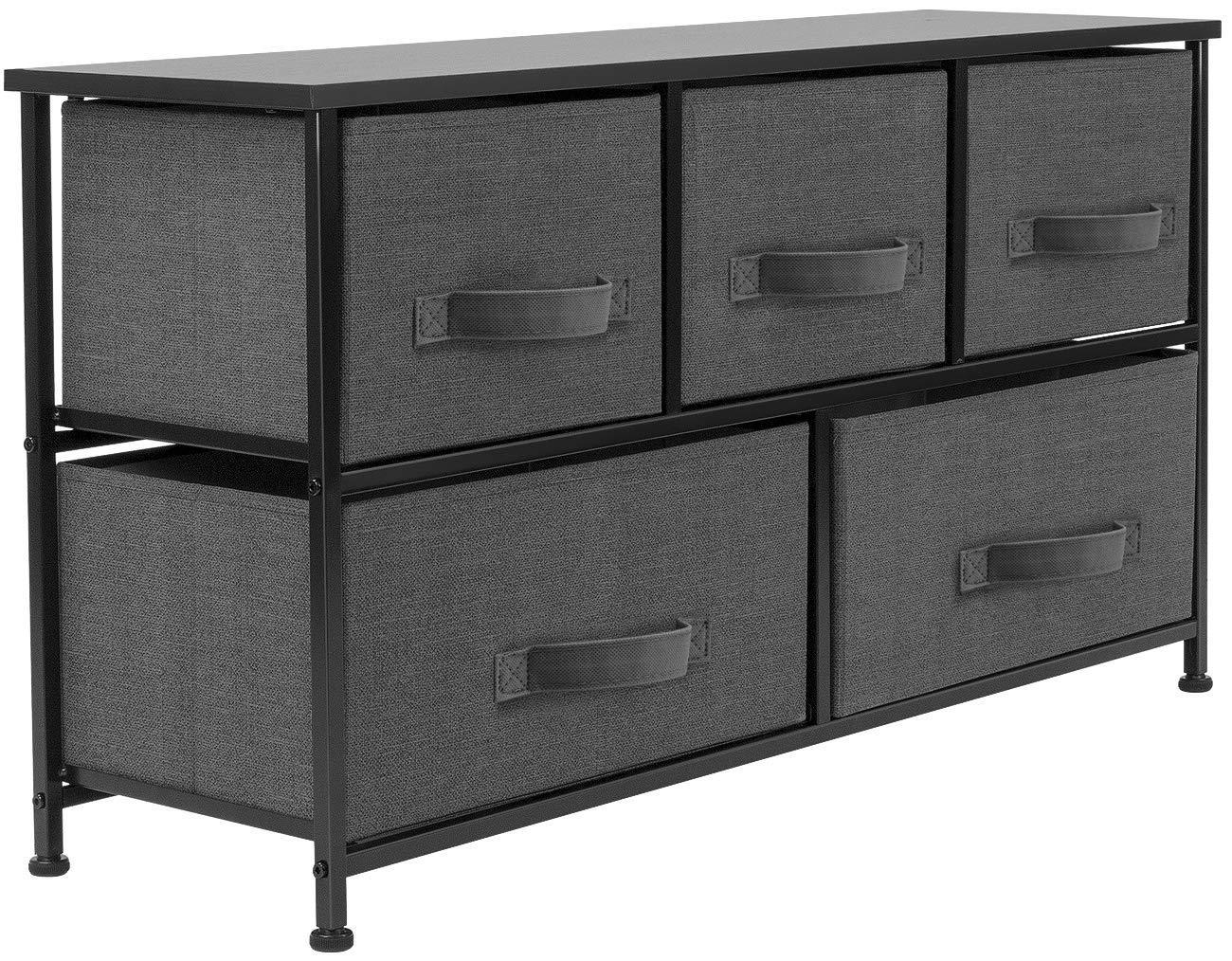 Best sorbus dresser with drawers furniture storage tower unit for bedroom hallway closet office organization steel frame wood top easy pull fabric bins 5 drawer black charcoal
