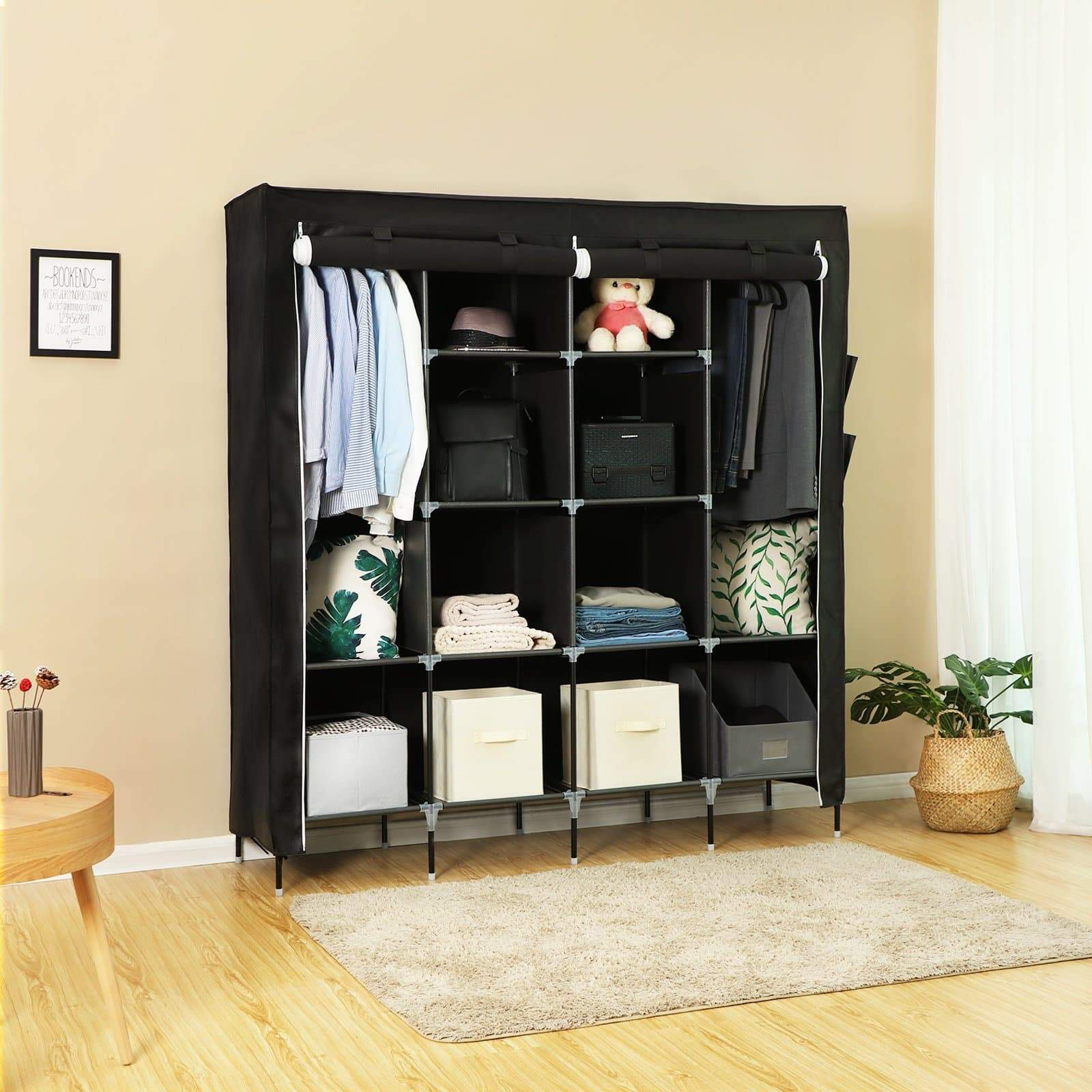 Save songmics 67 inch wardrobe armoire closet clothes storage rack 12 shelves 4 side pockets quick and easy to assemble black uryg44h