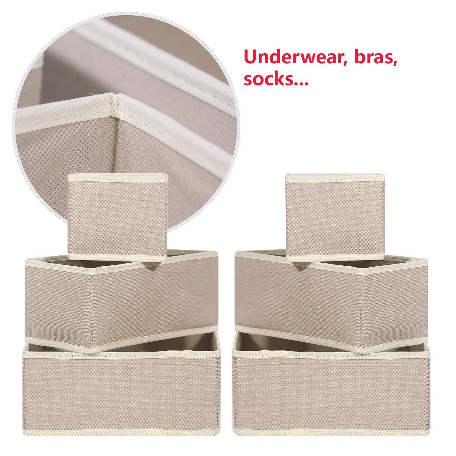 Great diommell 6 pack foldable cloth storage box closet dresser drawer organizer fabric baskets bins containers divider with drawers for clothes underwear bras socks lingerie clothing