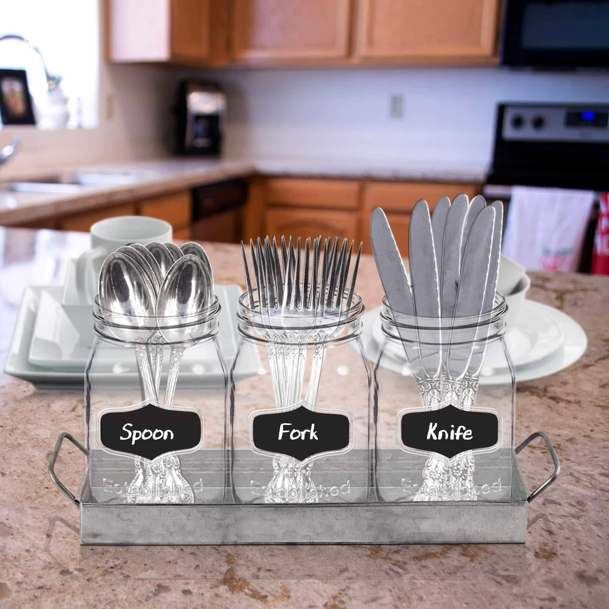 Storage organizer 3 glass mason jars with black chalk label 17 ounces clear chalkboard mugs on galvanized caddy with handle home and party drinkware set utensil organizer vintage rustic decor set