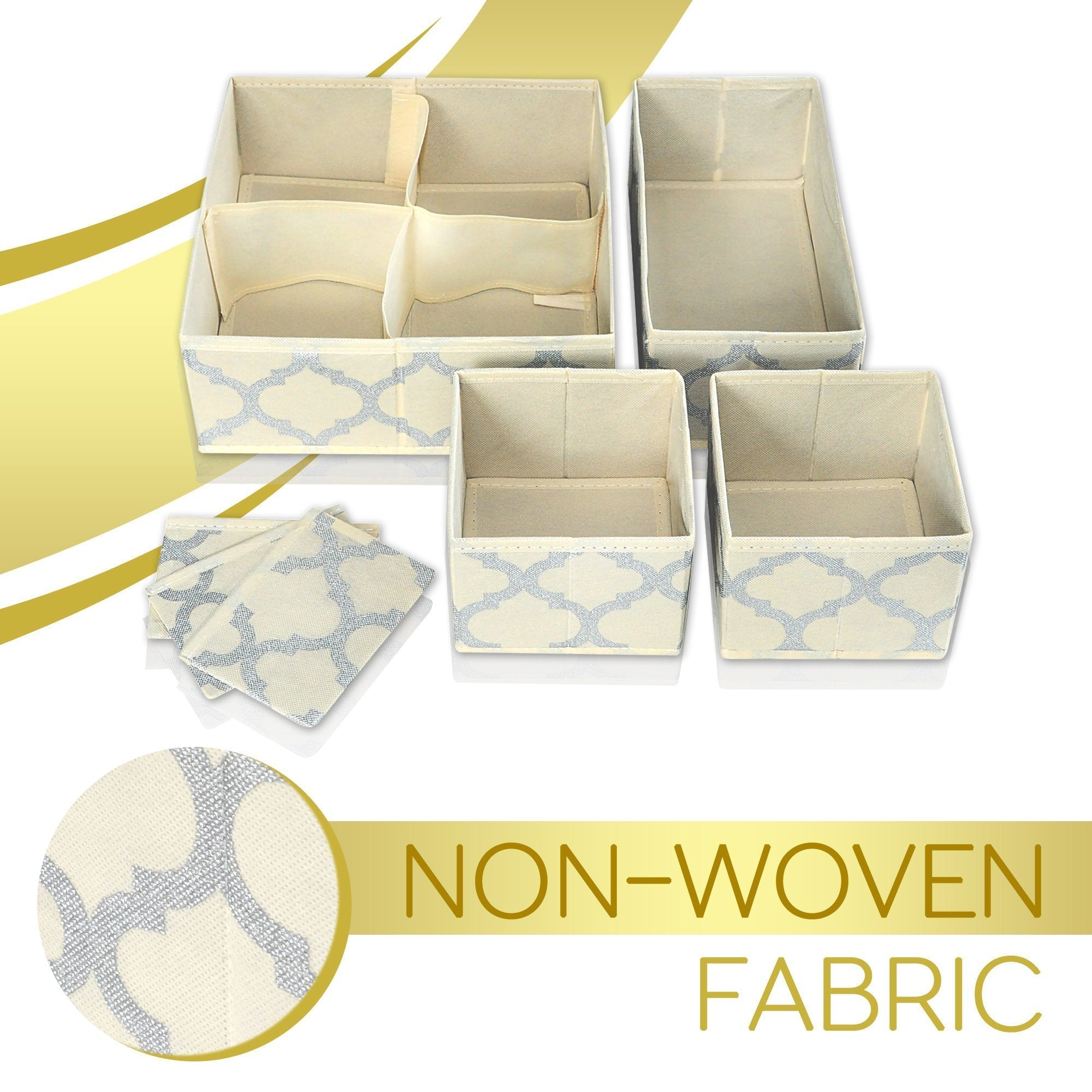 Great set of 4 organizer bins with dividers for closet dresser drawer inserts bathroom dorm or baby nursery store socks underwear clothes clothing organization organizador de closet set of 4 beige