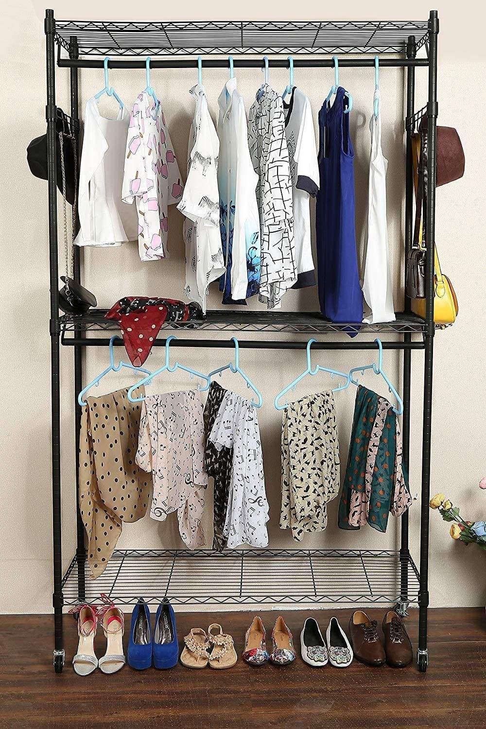 Featured miageek heavy duty garment rack rolling clothes rack free standing shelving wardrobe clothes closet storage organizer with hanging rods and lockable wheels black two pair hook