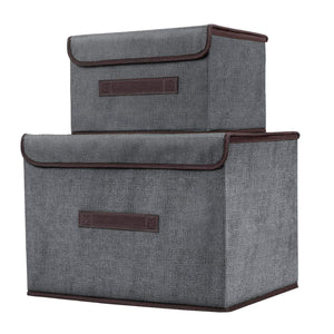 Explore foldable storage boxes with lids 2 set of linen fabric cubes with handles for shelf closet book kid toy nursery organize grey