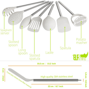 Budget friendly elfrhino utensils holder with cooking utensils set knives block utensils container flatware caddy cookware cutlery multipurpose kitchen storage crock slotted spoon spatula spaghetti server set of 10