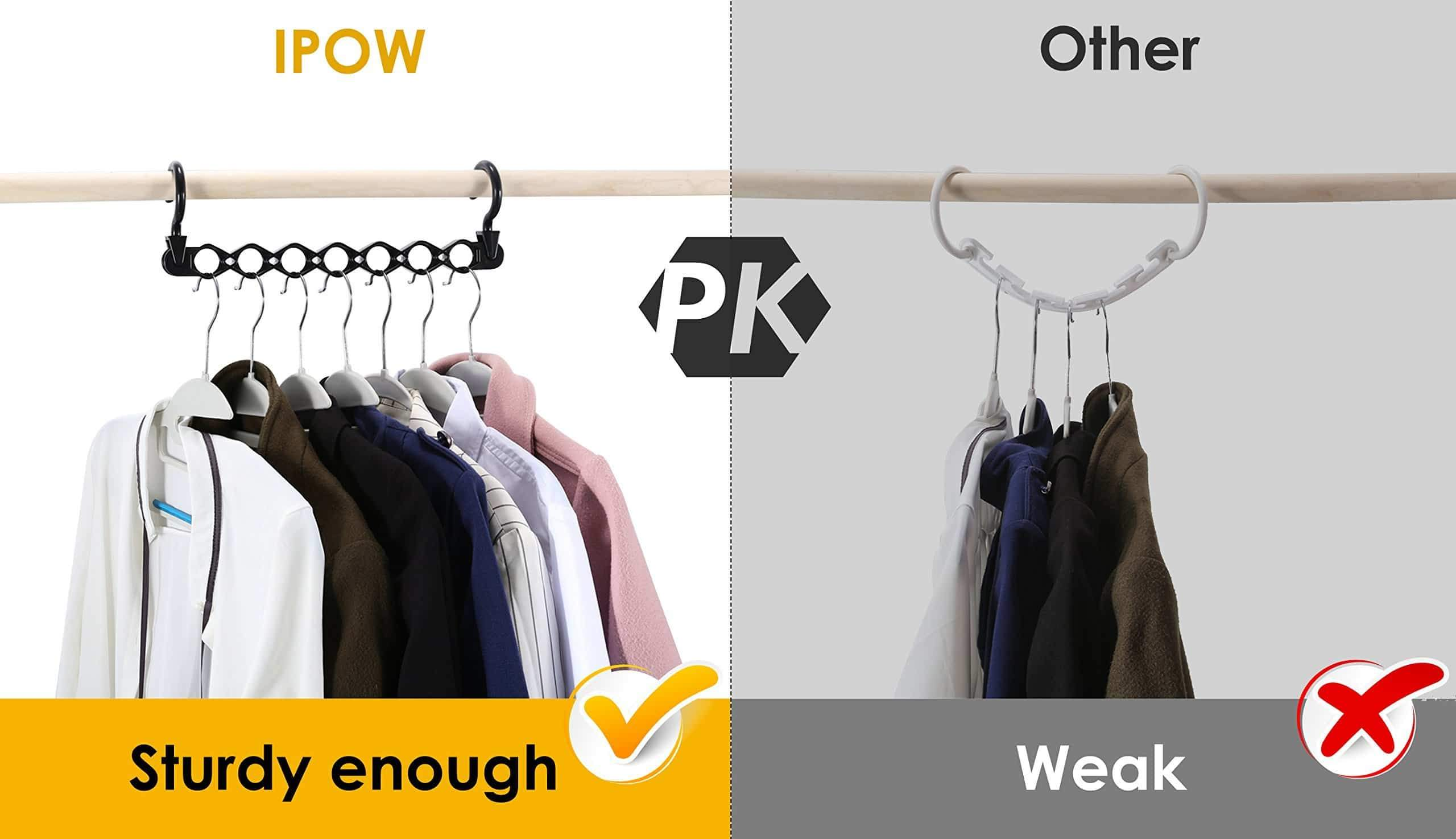 Best ipow 6 pack magic hanger heavy duty plastic closet space saving hanger wardrobe clothing cascading hanger organizer for easy wrinkle free shirts pants and coats