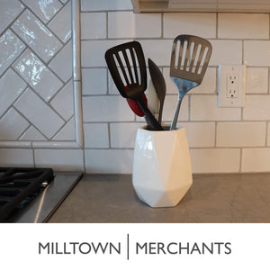 Best seller  ceramic utensil holder kitchen utensil holder utensil crock utensil caddy container milltown merchants™ faceted white utensil holder