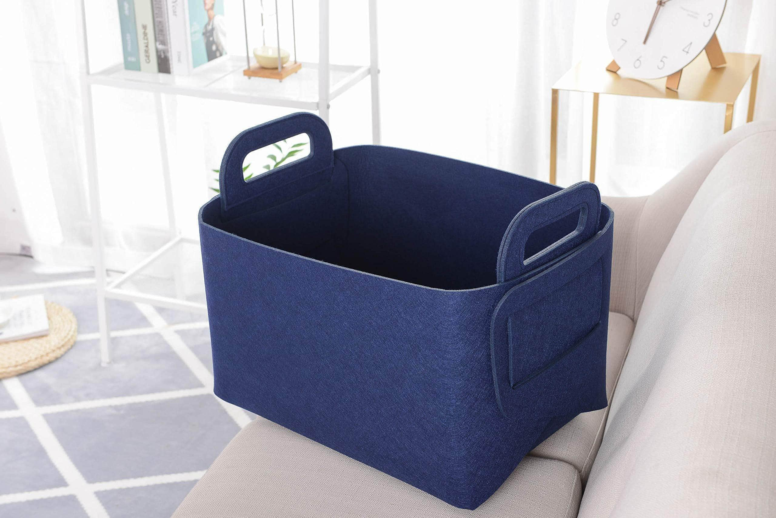 Related storage basket felt storage bin collapsible convenient box organizer with carry handles for office bedroom closet babies nursery toys dvd laundry organizing