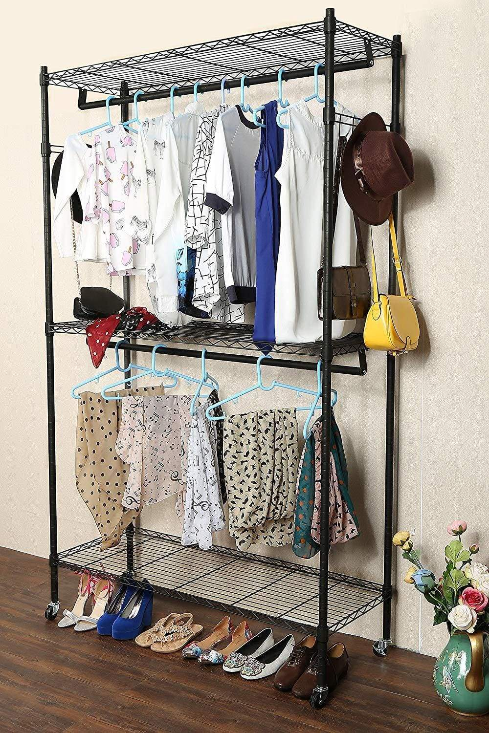 Home modrine double rod garment rack 3 tiers heavy duty hanging closet with lockable rolling wheels 2 side hooks and 2 clothes rods black