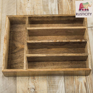 Save on rusticity wooden utensil drawer organizer with 5 compartments kitchen flatware cutlery tray organizer mango wood handmade 13 7 x 10 2 x 2 6 in