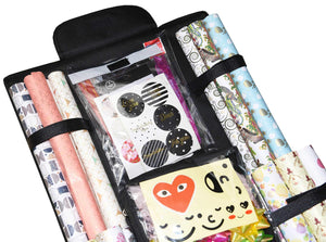 Order now freegrace double sided hanging gift wrap organizer large 16 x 41 wrapping paper rolls storage bag tearproof space saving closet gift bag organization solution black