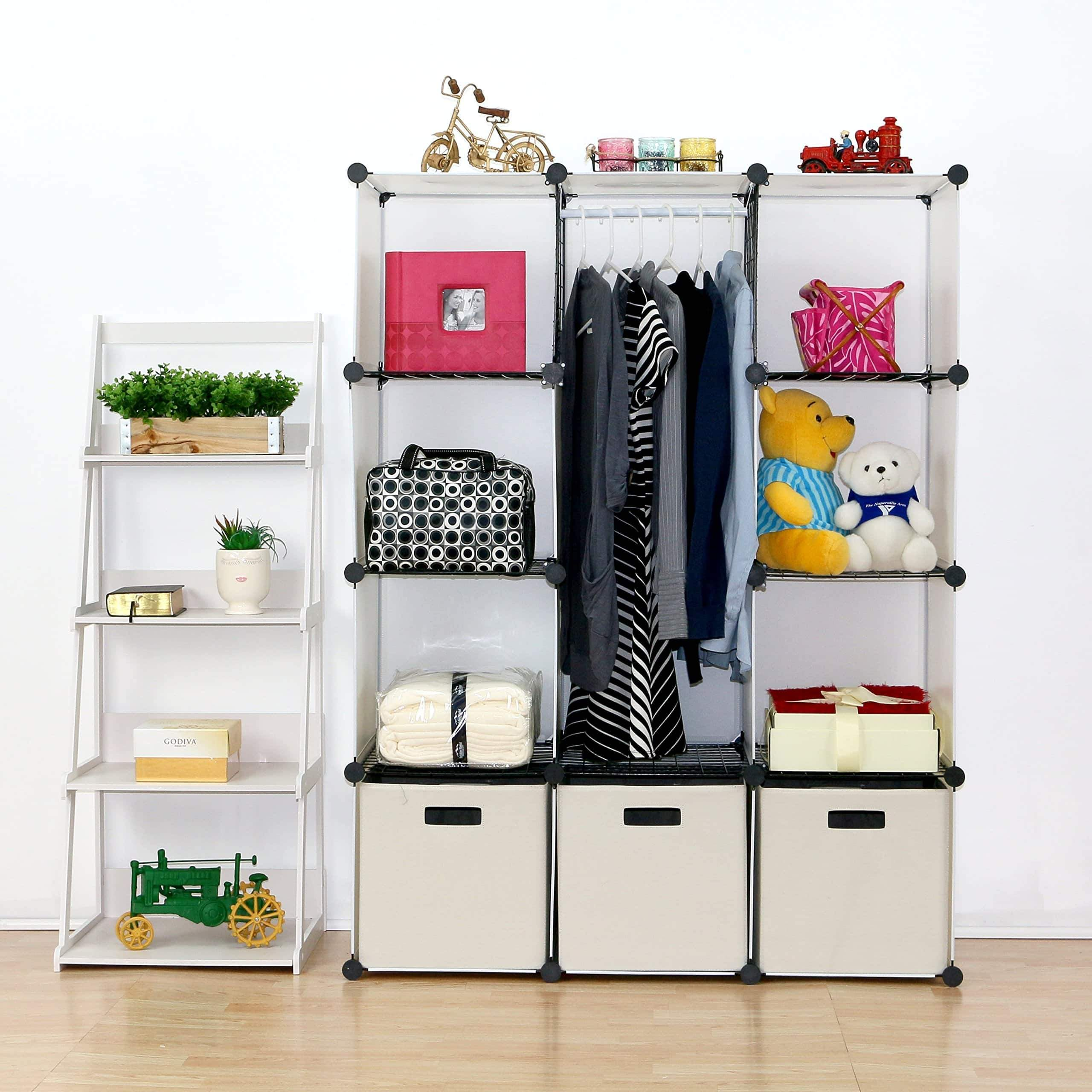Selection unicoo multi use diy plastic 12 cube organizer toy organizer bookcase storage cabinet wardrobe closet white with door sticker deeper cube white