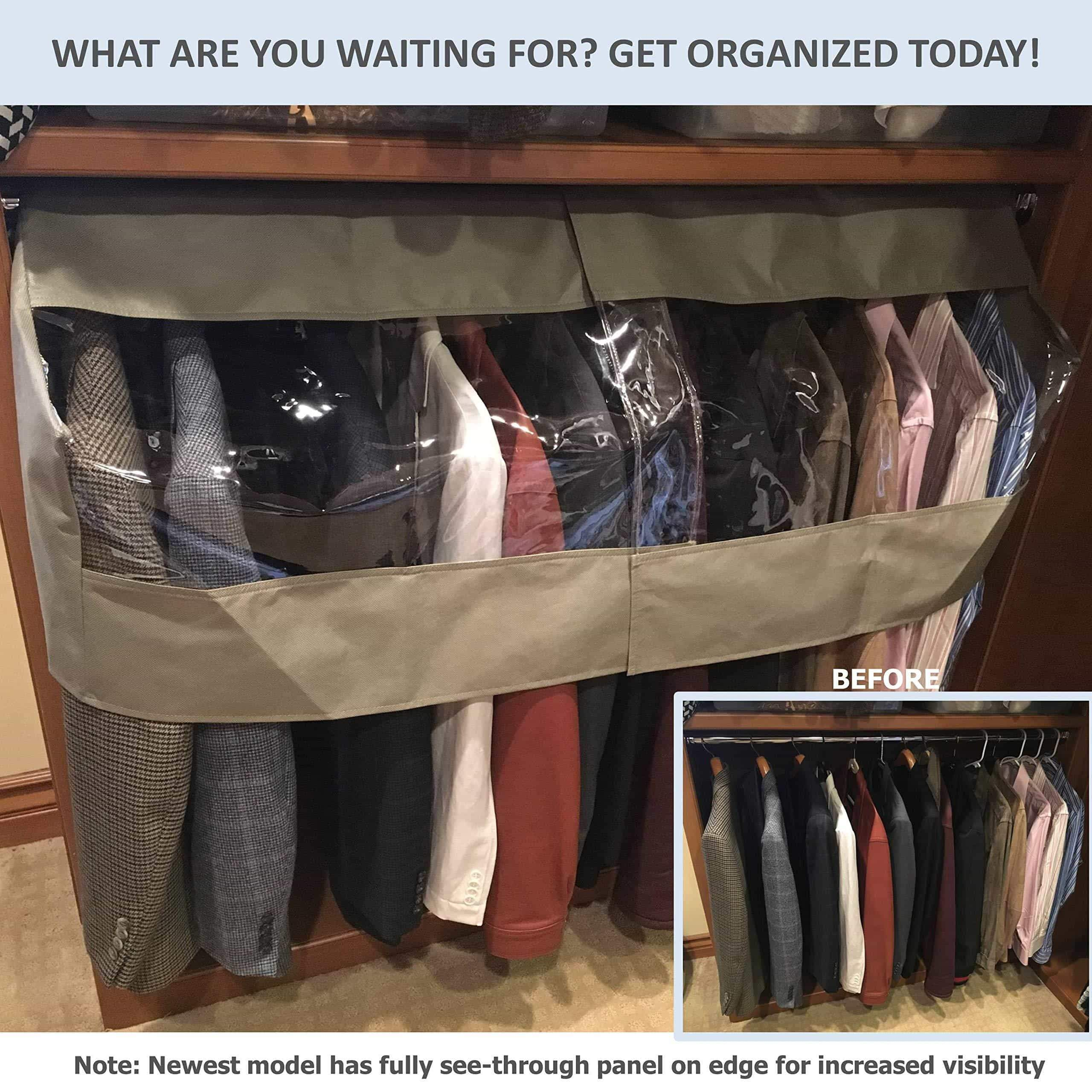 Save on garment cover for closet rod and portable clothing rack shoulder dust cover protect your wardrobe in style adjustable to fit 20 to 36 long 6 pack