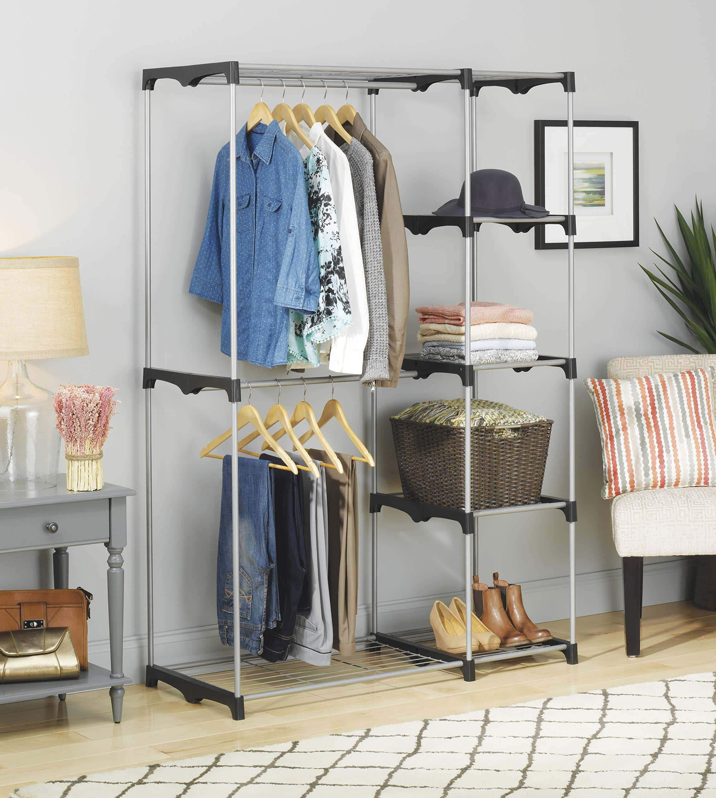 Discover the whitmor double rod freestanding closet heavy duty storage organizer