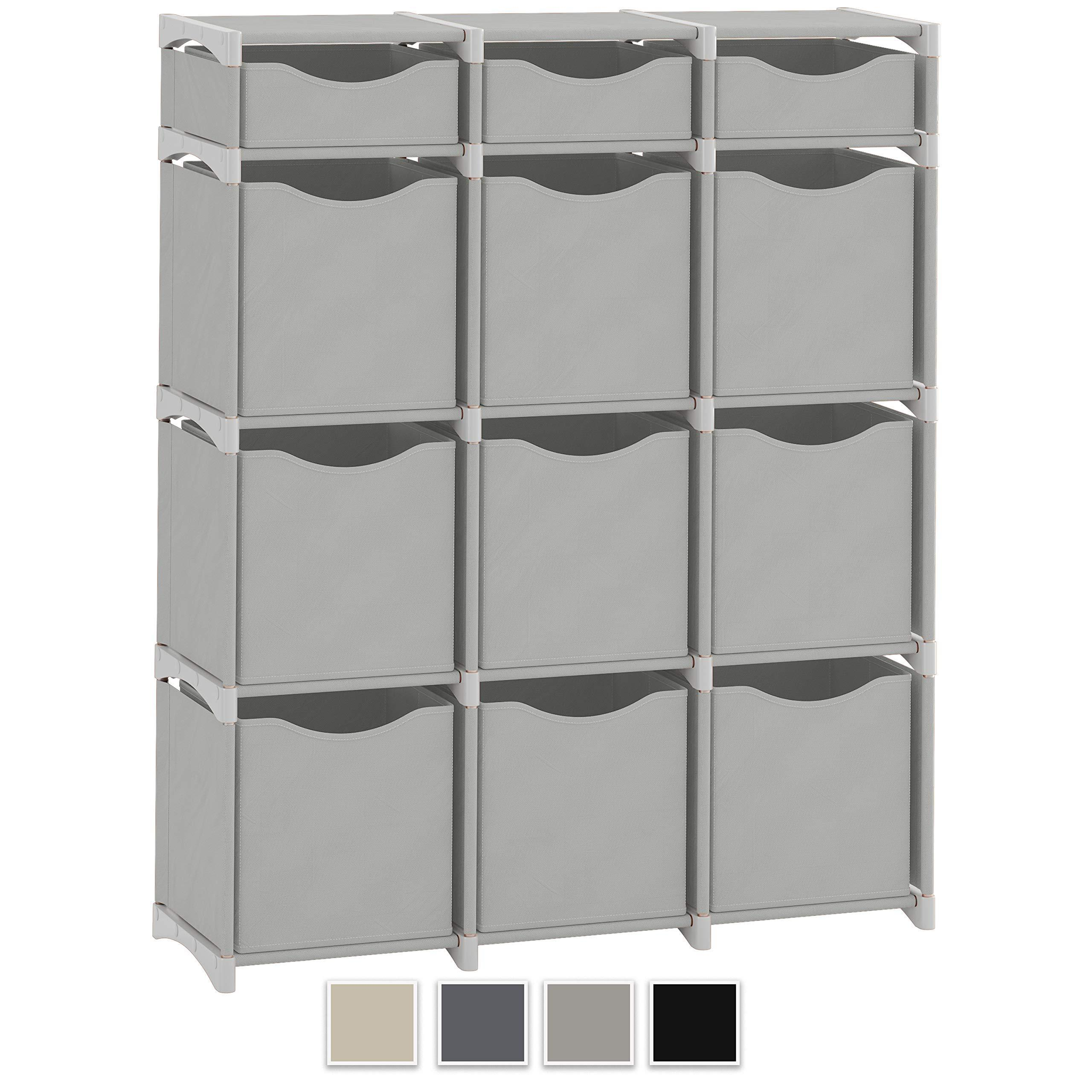 Heavy duty 12 cube organizer set of storage cubes included diy cubby organizer bins cube shelves ladder storage unit shelf closet organizer for bedroom playroom livingroom office light grey