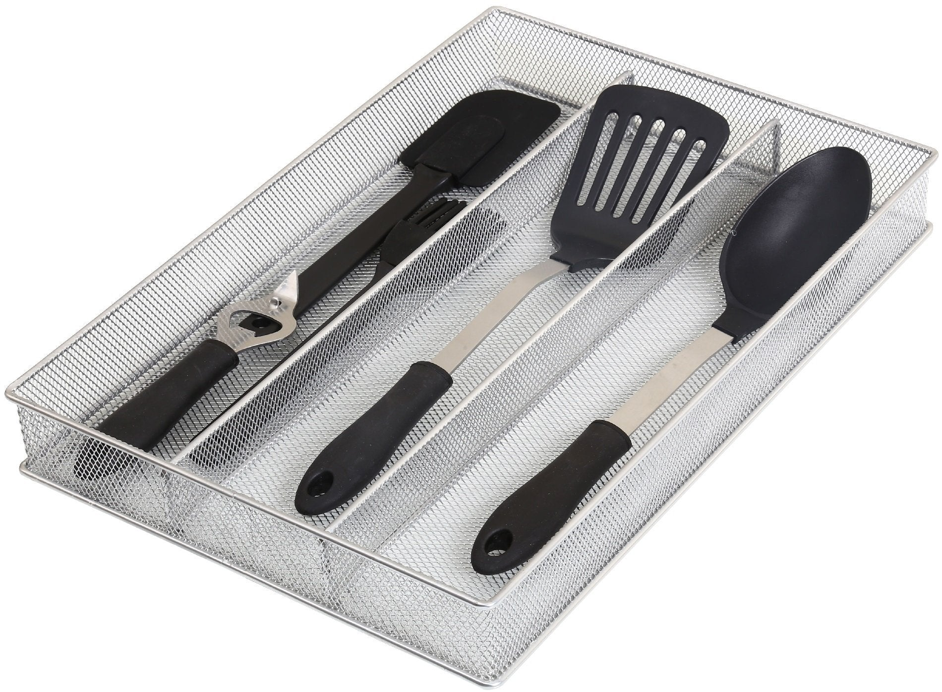 Shop ybm home silver mesh cutlery holder in drawer utensil flatware organizer tray size width 11 length 16 height 2 1150 3 compartment