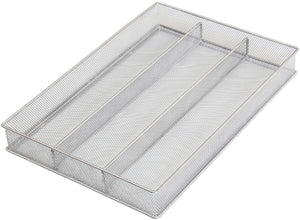 Select nice ybm home silver mesh cutlery holder in drawer utensil flatware organizer tray size width 11 length 16 height 2 1150 3 compartment