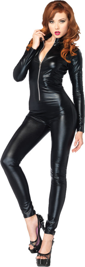 Catsuit Wet Look Zipper Front