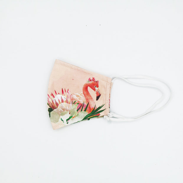 Floral Flamingo Happy Art Mask