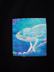 Womens Black T with Curious Chameleon Pocket