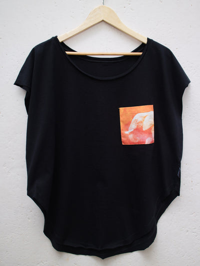 Womens Black T with Earthy Elephant Pocket