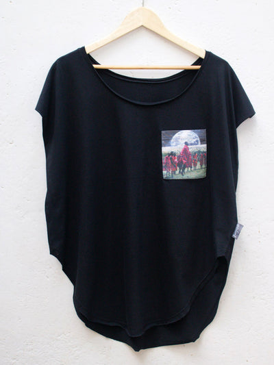 Womens Black T with Maasai Earth Pocket