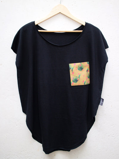 Womens Black T with Parrot Pocket