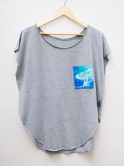Womens Grey T with Curious Chameleon Pocket