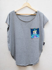 Womens Grey T with Festive Cheetah Navy Pocket