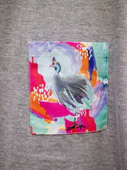 Womens Grey T with Optimistic Guinea Fowl Pocket