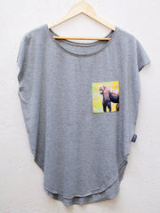 Womens Grey T with Tropical Gorilla Pocket