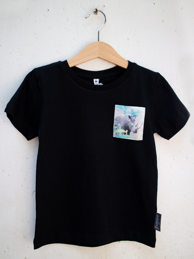 Kids Black T with Holiday Rhino Pocket