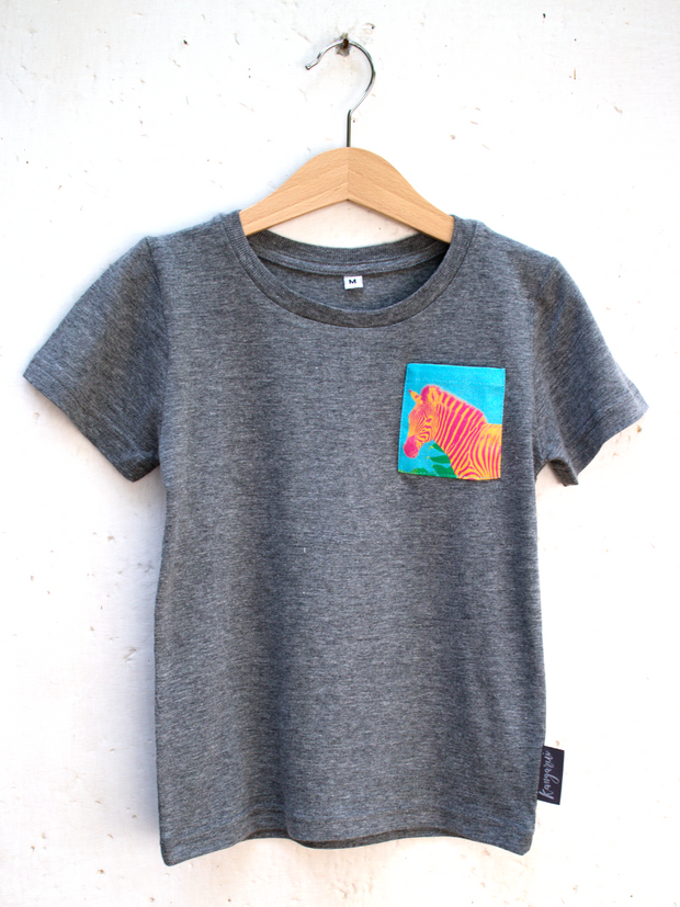 Kids Grey T with Aqua Zebra Pocket