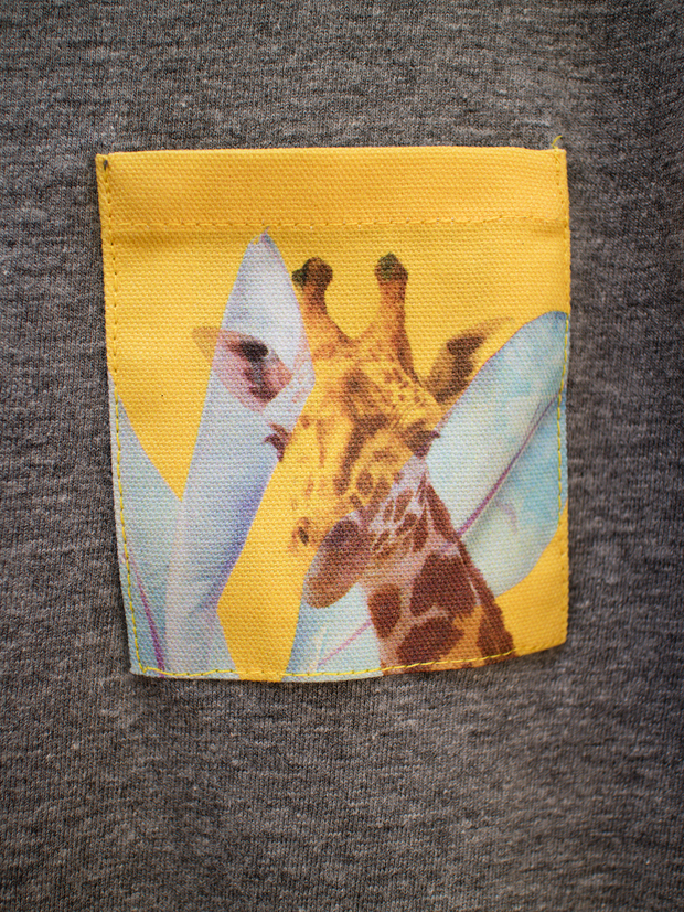 Kids Grey T with Radiant Giraffe Pocket