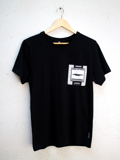 Unisex Black T with No Worries Crocodile Pocket
