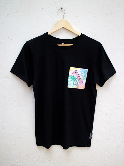 Unisex Black T with Summertime Giraffe Pocket